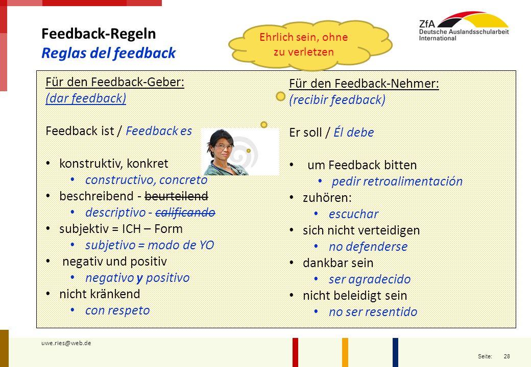 28 Seite: uwe.ries@web.de Feedback-Regeln Reglas del feedback Für den Feedback-Geber: (dar feedback) Feedback ist / Feedback es konstruktiv, konkret c