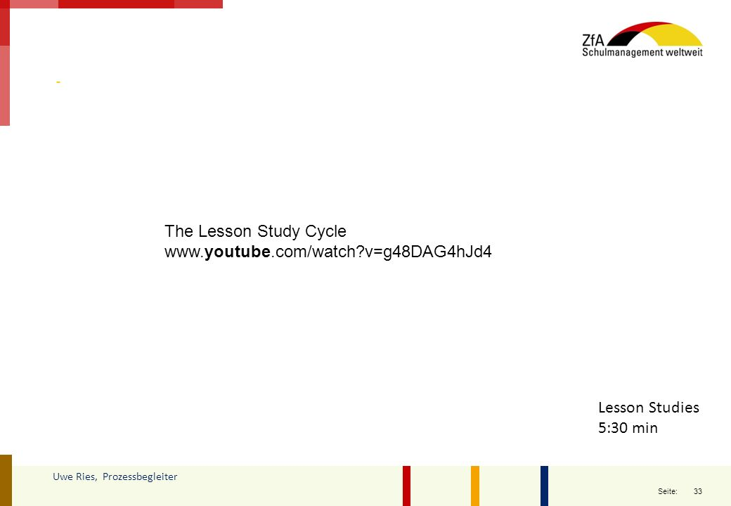 33 Seite: Uwe Ries, Prozessbegleiter Lesson Studies 5:30 min The Lesson Study Cycle www.youtube.com/watch?v=g48DAG4hJd4