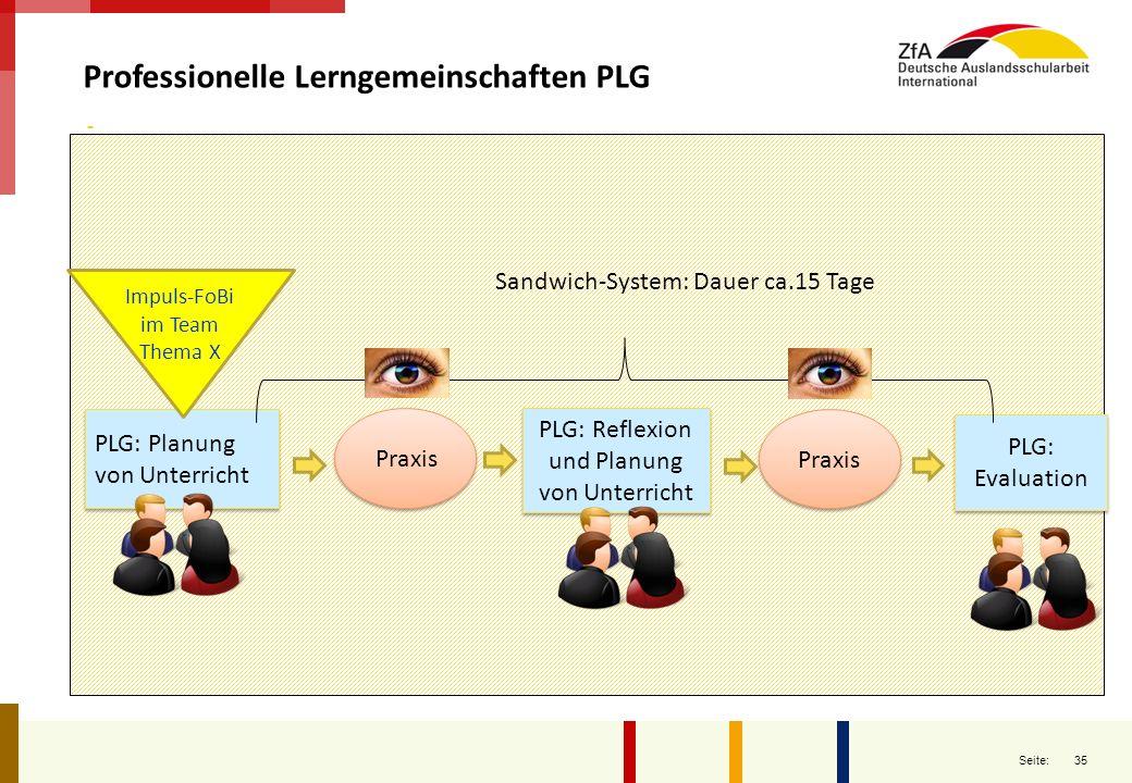 35 Seite: Professionelle Lerngemeinschaften PLG PLG: Planung von Unterricht Praxis PLG: Reflexion und Planung von Unterricht Praxis PLG: Evaluation PL
