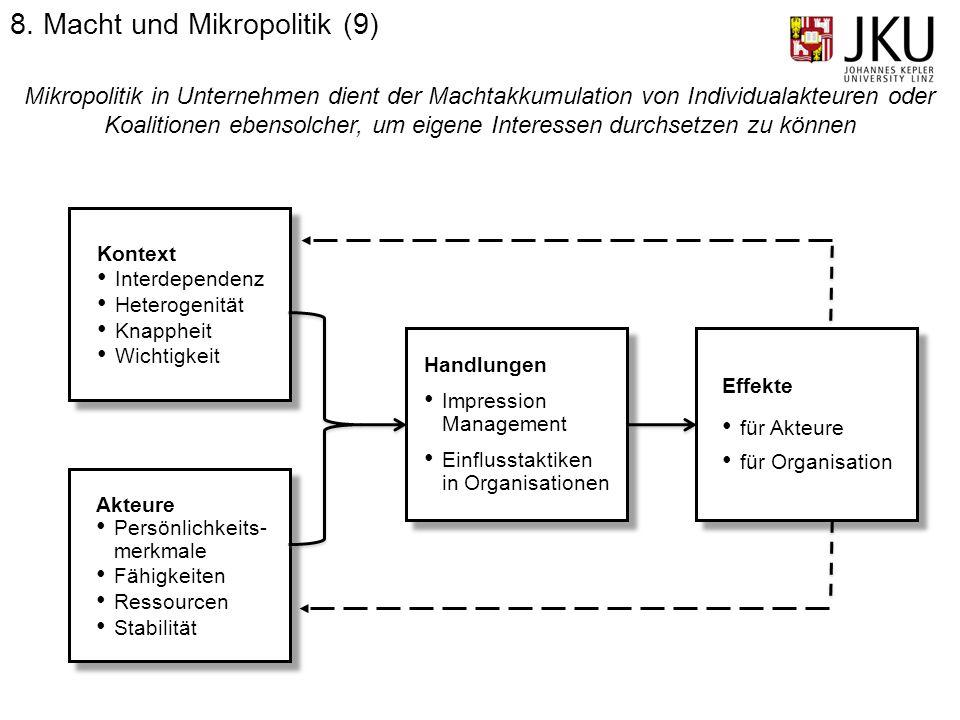 Mikropolitik in Unternehmen dient der Machtakkumulation von Individualakteuren oder Koalitionen ebensolcher, um eigene Interessen durchsetzen zu könne