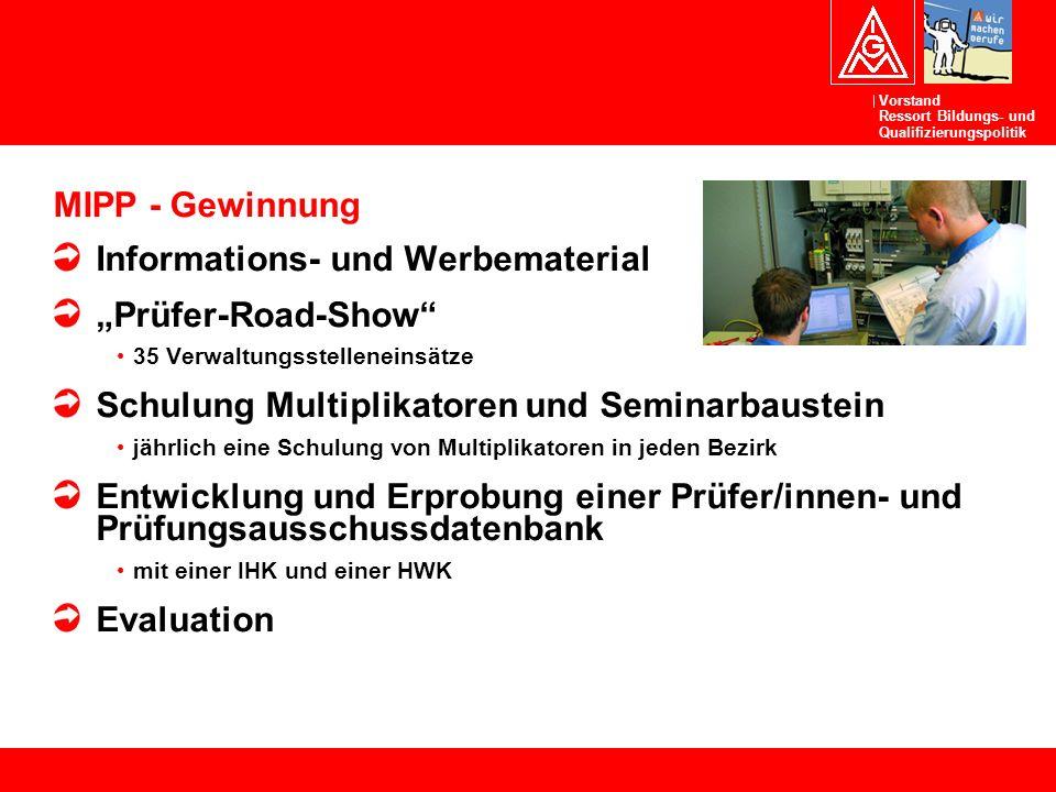 """Vorstand Ressort Bildungs- und Qualifizierungspolitik MIPP - Gewinnung Informations- und Werbematerial """"Prüfer-Road-Show"""" 35 Verwaltungsstelleneinsätz"""