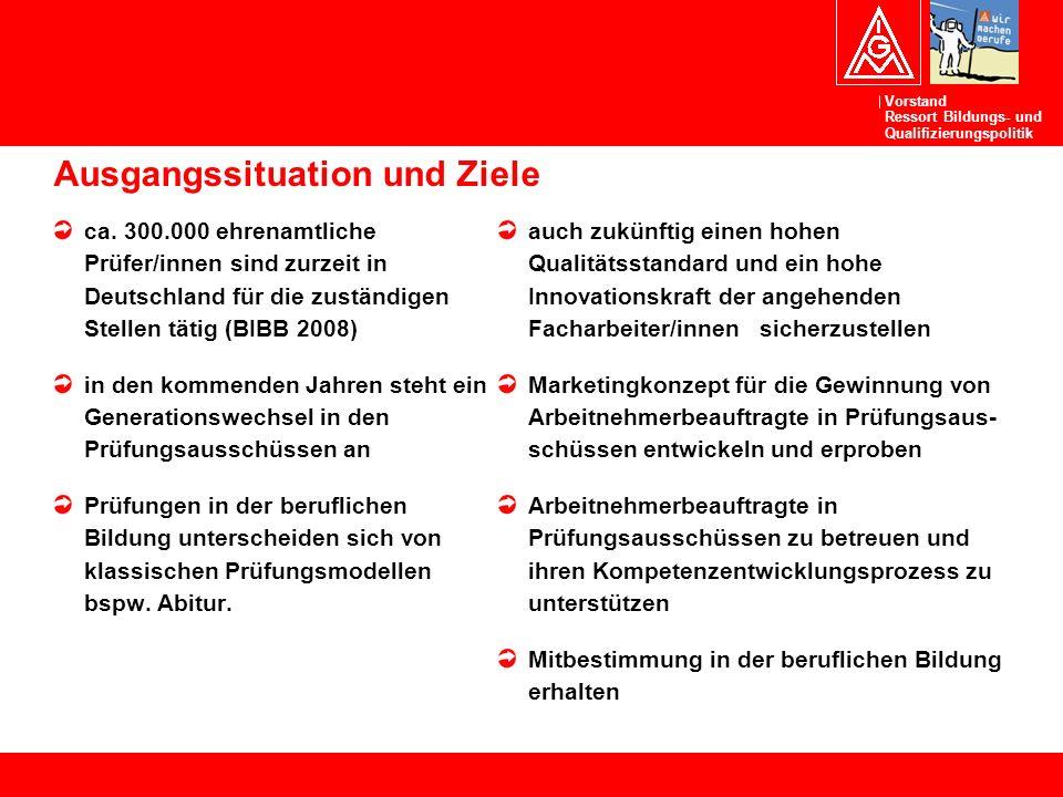 Vorstand Ressort Bildungs- und Qualifizierungspolitik Ausgangssituation und Ziele ca. 300.000 ehrenamtliche Prüfer/innen sind zurzeit in Deutschland f
