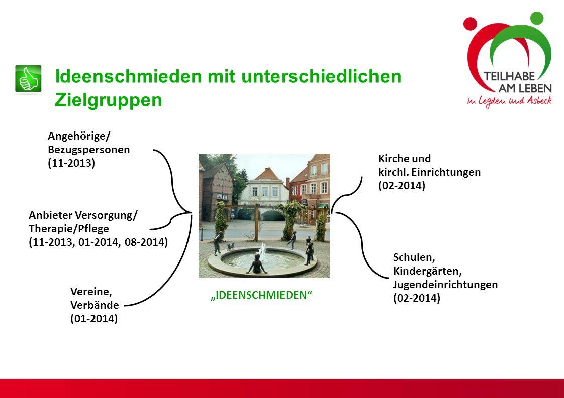 Ideenschmieden mit unterschiedlichen Zielgruppen Angehörige/ Bezugspersonen (11-2013) Anbieter Versorgung/ Therapie/Pflege (11-2013, 01-2014, 08-2014) Kirche und kirchl.