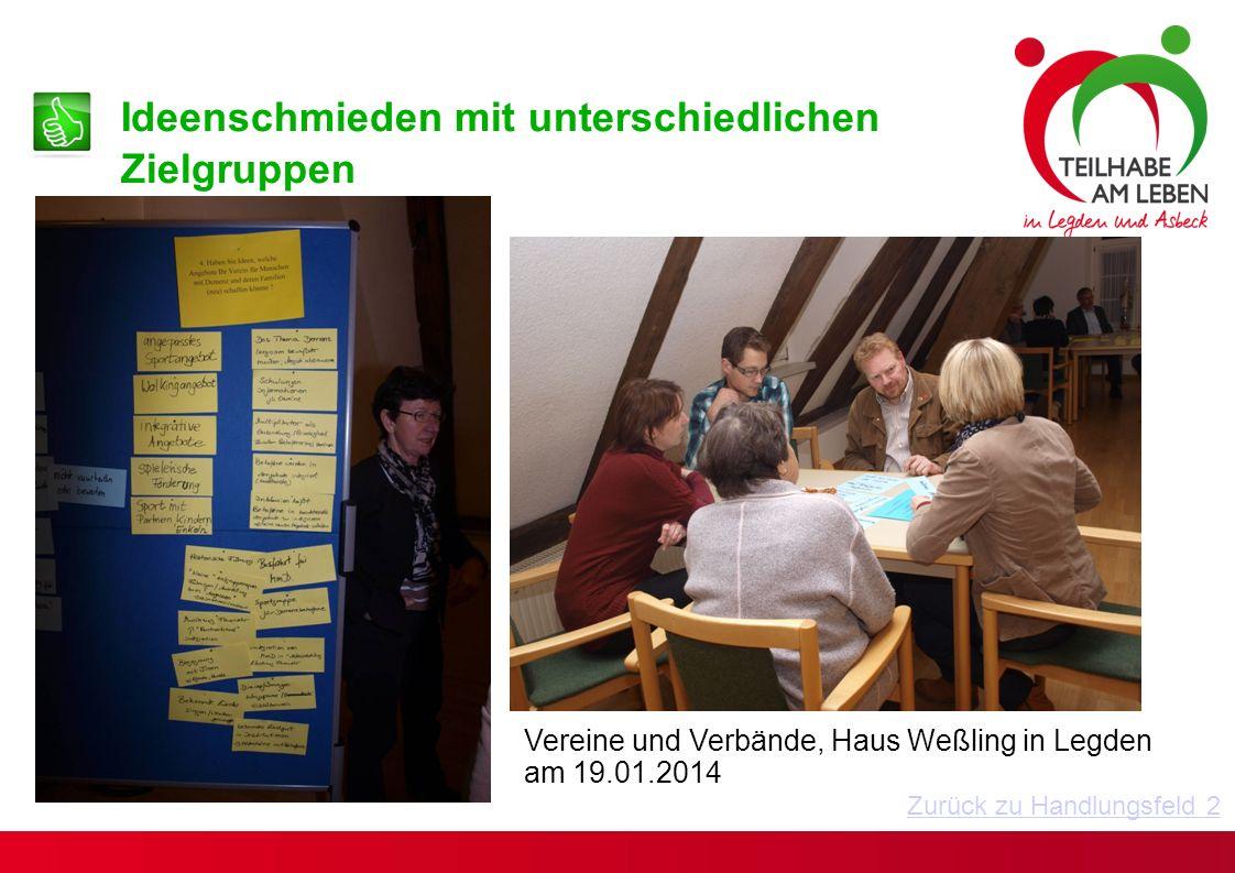 Vereine und Verbände, Haus Weßling in Legden am 19.01.2014 Ideenschmieden mit unterschiedlichen Zielgruppen Zurück zu Handlungsfeld 2