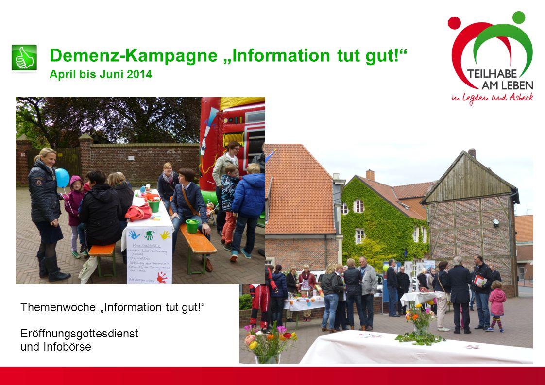 """Themenwoche """"Information tut gut! Eröffnungsgottesdienst und Infobörse Demenz-Kampagne """"Information tut gut! April bis Juni 2014"""