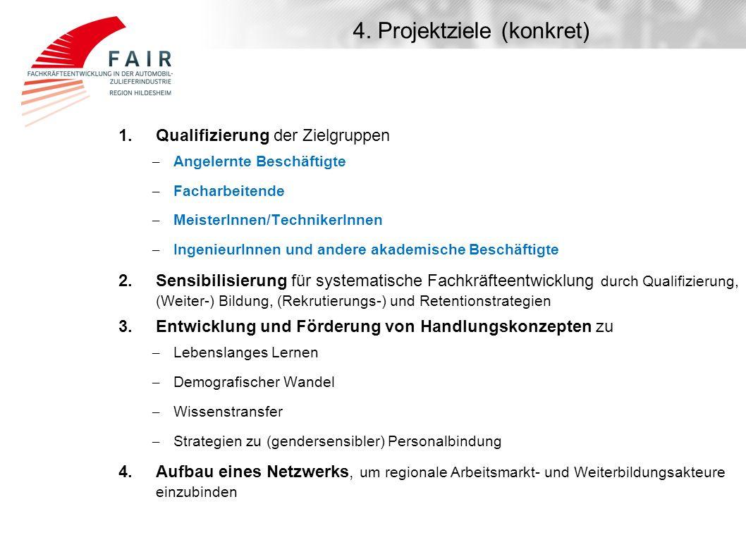 4. Projektziele (konkret) 1. Qualifizierung der Zielgruppen – Angelernte Beschäftigte – Facharbeitende – MeisterInnen/TechnikerInnen – IngenieurInnen