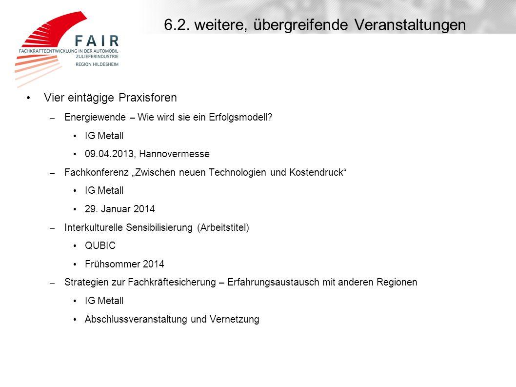 6.2. weitere, übergreifende Veranstaltungen Vier eintägige Praxisforen – Energiewende – Wie wird sie ein Erfolgsmodell? IG Metall 09.04.2013, Hannover