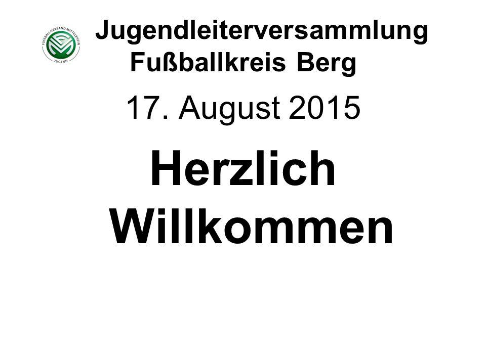 Jugendleiterversammlung Fußballkreis Berg 17. August 2015 Herzlich Willkommen
