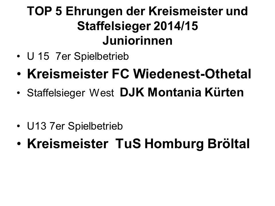 TOP 5 Ehrungen der Kreismeister und Staffelsieger 2014/15 Juniorinnen U 15 7er Spielbetrieb Kreismeister FC Wiedenest-Othetal Staffelsieger West DJK M
