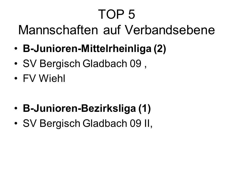 TOP 5 Mannschaften auf Verbandsebene B-Junioren-Mittelrheinliga (2) SV Bergisch Gladbach 09, FV Wiehl B-Junioren-Bezirksliga (1) SV Bergisch Gladbach 09 II,