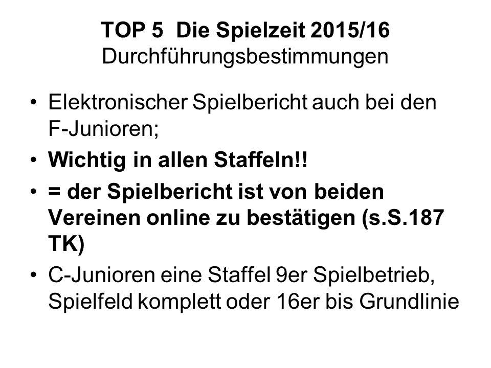 TOP 5 Die Spielzeit 2015/16 Durchführungsbestimmungen Elektronischer Spielbericht auch bei den F-Junioren; Wichtig in allen Staffeln!.