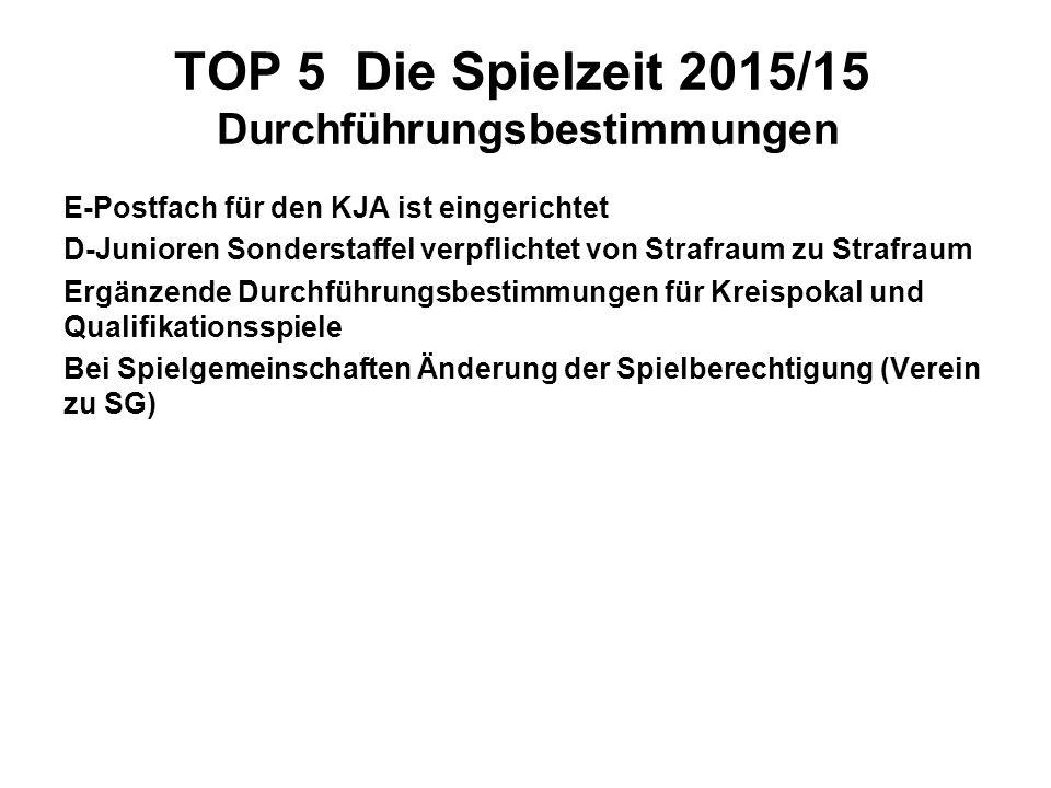 TOP 5 Die Spielzeit 2015/15 Durchführungsbestimmungen E-Postfach für den KJA ist eingerichtet D-Junioren Sonderstaffel verpflichtet von Strafraum zu S