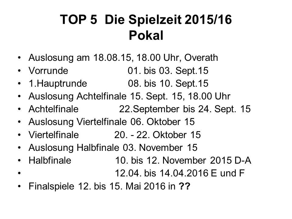 TOP 5 Die Spielzeit 2015/16 Pokal Auslosung am 18.08.15, 18.00 Uhr, Overath Vorrunde 01. bis 03. Sept.15 1.Hauptrunde 08. bis 10. Sept.15 Auslosung Ac
