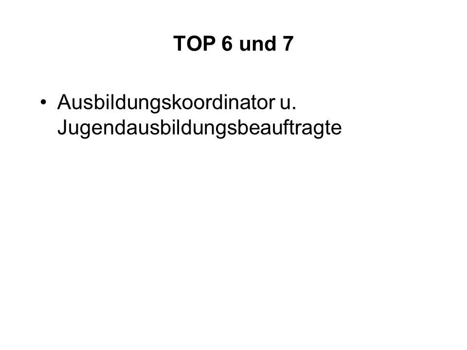 TOP 6 und 7 Ausbildungskoordinator u. Jugendausbildungsbeauftragte