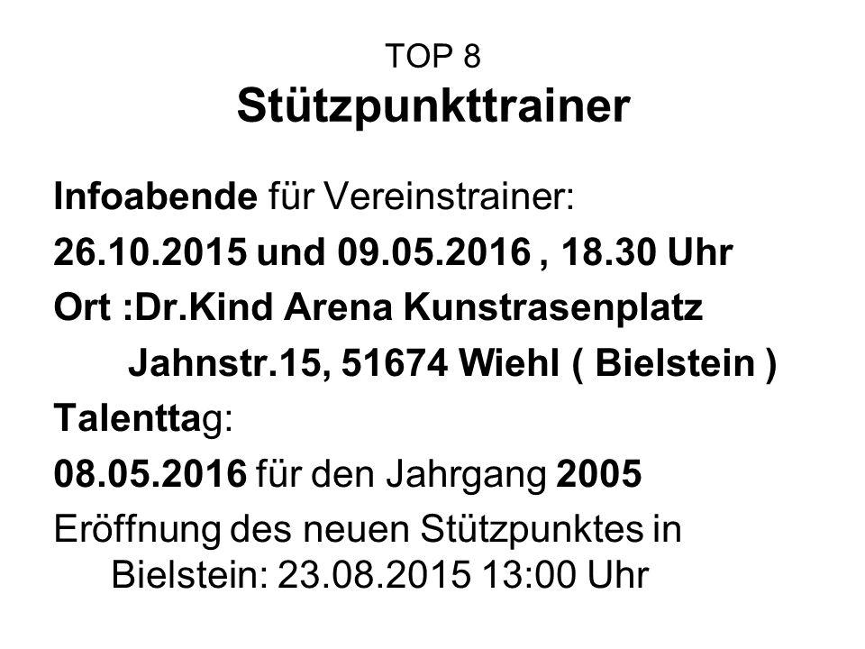 TOP 8 Stützpunkttrainer Infoabende für Vereinstrainer: 26.10.2015 und 09.05.2016, 18.30 Uhr Ort :Dr.Kind Arena Kunstrasenplatz Jahnstr.15, 51674 Wiehl