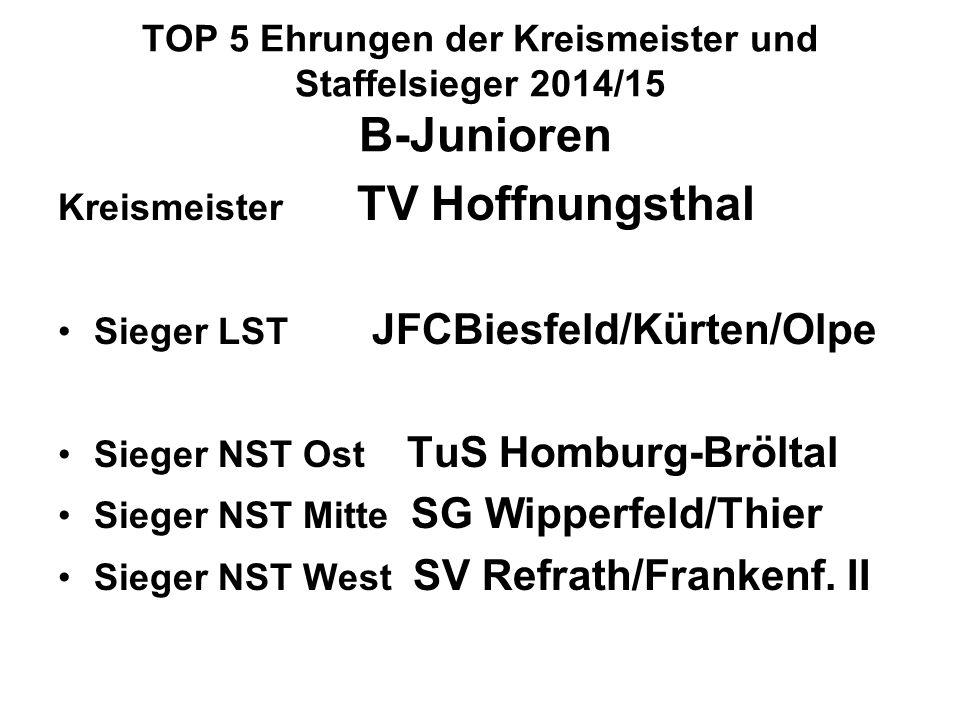 TOP 5 Ehrungen der Kreismeister und Staffelsieger 2014/15 B-Junioren Kreismeister TV Hoffnungsthal Sieger LST JFCBiesfeld/Kürten/Olpe Sieger NST Ost TuS Homburg-Bröltal Sieger NST Mitte SG Wipperfeld/Thier Sieger NST West SV Refrath/Frankenf.
