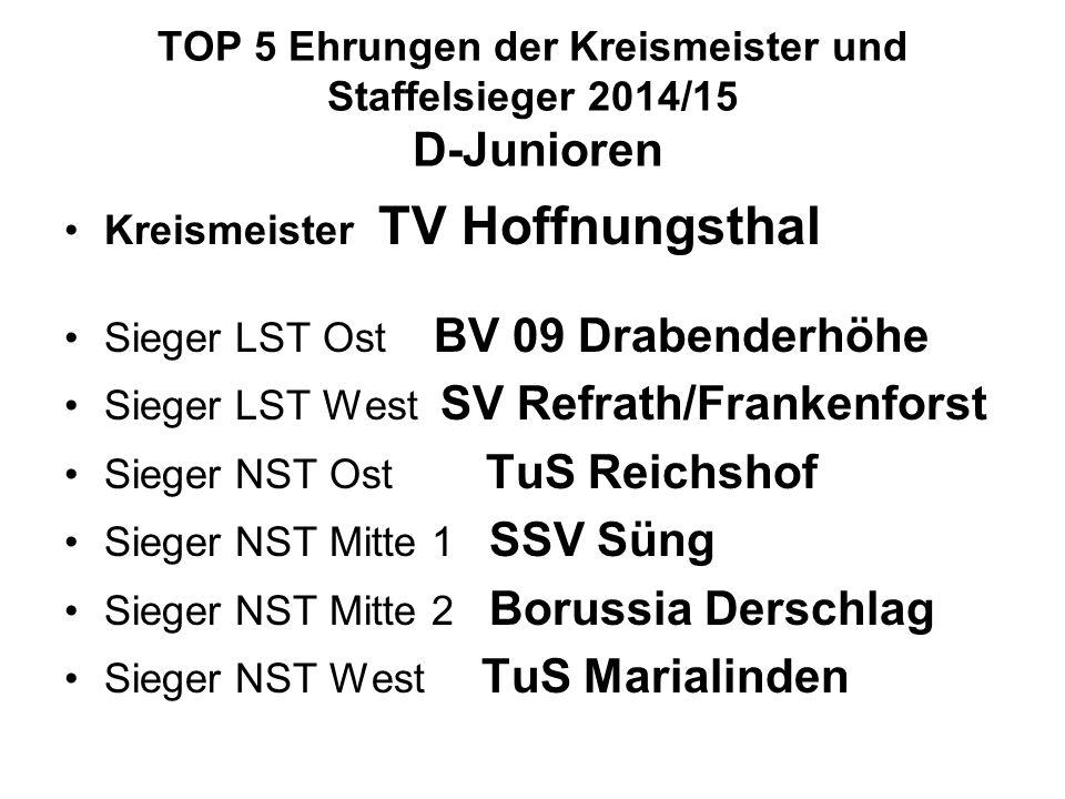 TOP 5 Ehrungen der Kreismeister und Staffelsieger 2014/15 D-Junioren Kreismeister TV Hoffnungsthal Sieger LST Ost BV 09 Drabenderhöhe Sieger LST West