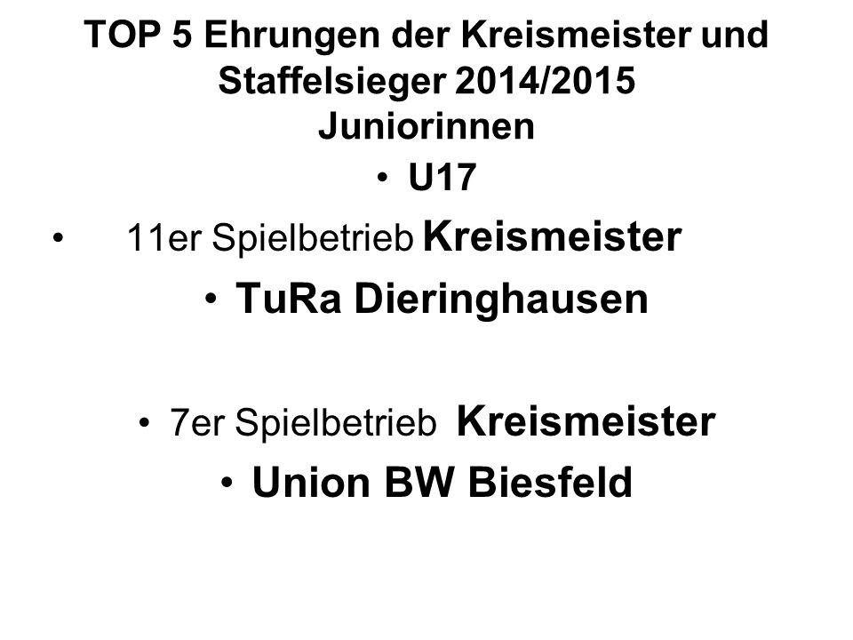 TOP 5 Ehrungen der Kreismeister und Staffelsieger 2014/2015 Juniorinnen U17 11er Spielbetrieb Kreismeister TuRa Dieringhausen 7er Spielbetrieb Kreismeister Union BW Biesfeld