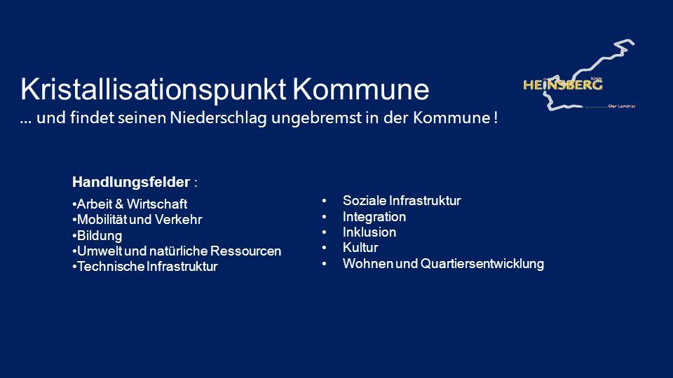 Kristallisationspunkt Kommune … und findet seinen Niederschlag ungebremst in der Kommune ! Handlungsfelder : Arbeit & Wirtschaft Mobilität und Verkehr