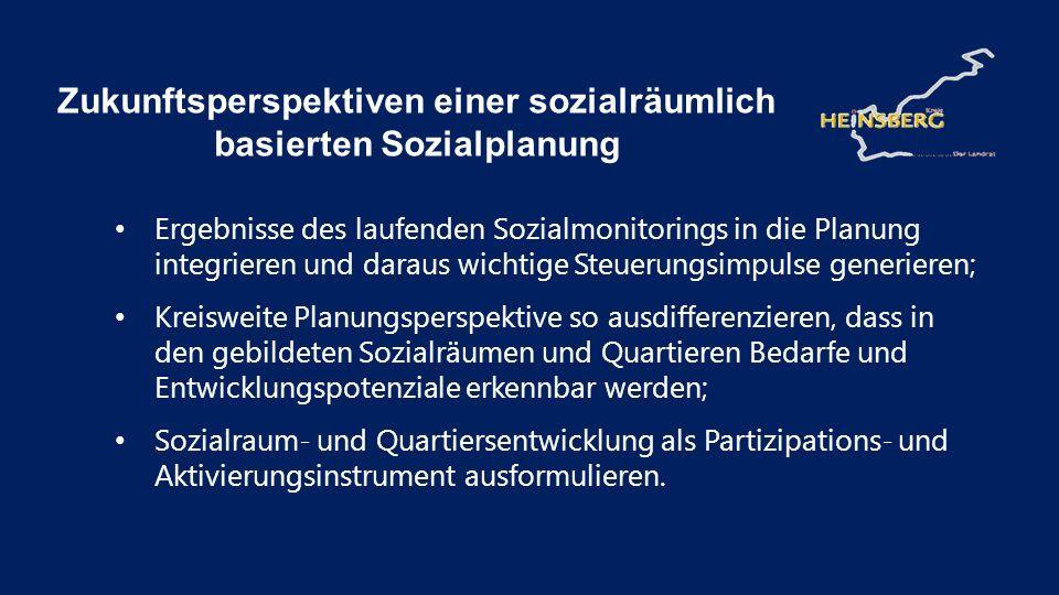 Ergebnisse des laufenden Sozialmonitorings in die Planung integrieren und daraus wichtige Steuerungsimpulse generieren; Kreisweite Planungsperspektive