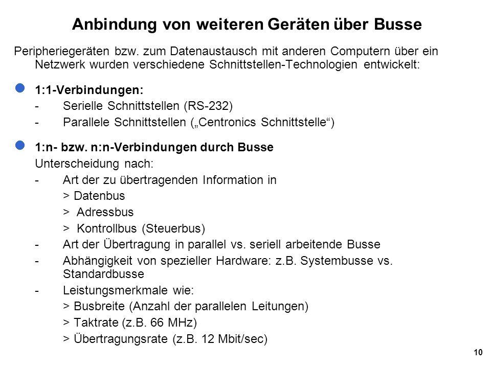 10 Anbindung von weiteren Geräten über Busse Peripheriegeräten bzw. zum Datenaustausch mit anderen Computern über ein Netzwerk wurden verschiedene Sch