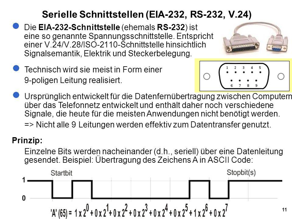 11 Serielle Schnittstellen (EIA-232, RS-232, V.24) Die EIA-232-Schnittstelle (ehemals RS-232) ist eine so genannte Spannungsschnittstelle.