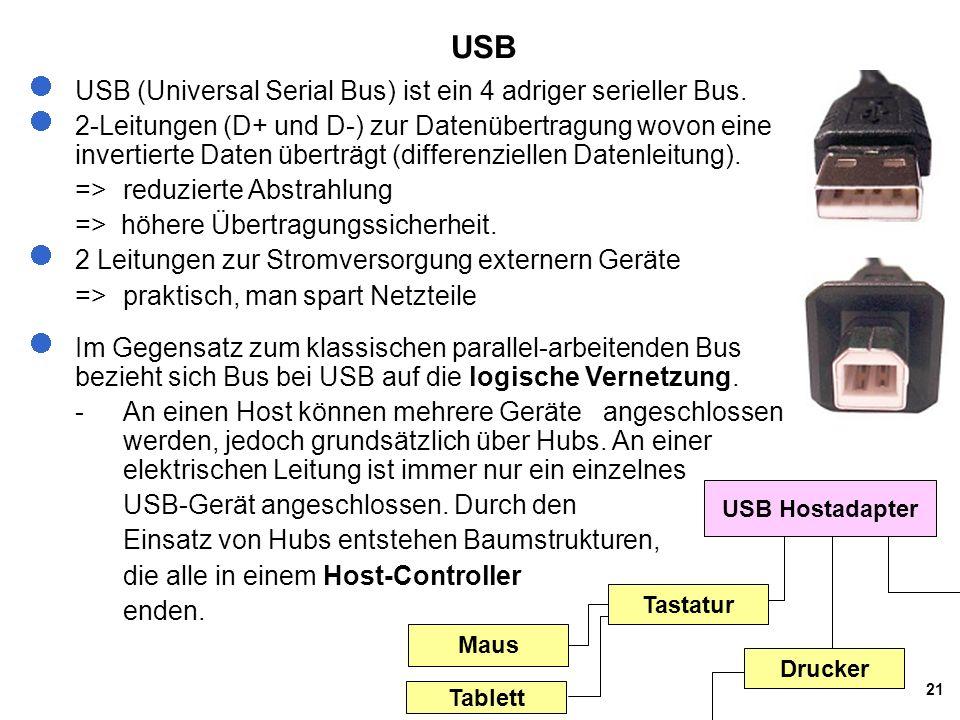 21 USB USB (Universal Serial Bus) ist ein 4 adriger serieller Bus. 2-Leitungen (D+ und D-) zur Datenübertragung wovon eine invertierte Daten überträgt