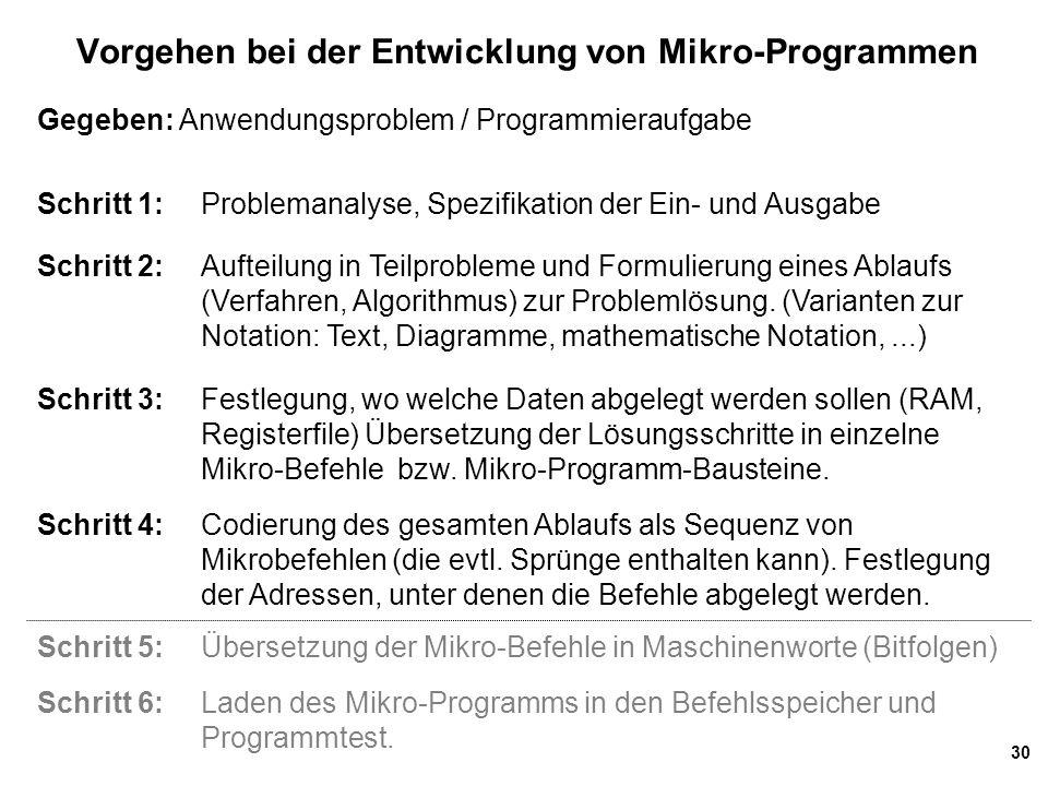 30 Vorgehen bei der Entwicklung von Mikro-Programmen Gegeben: Anwendungsproblem / Programmieraufgabe Schritt 1:Problemanalyse, Spezifikation der Ein-
