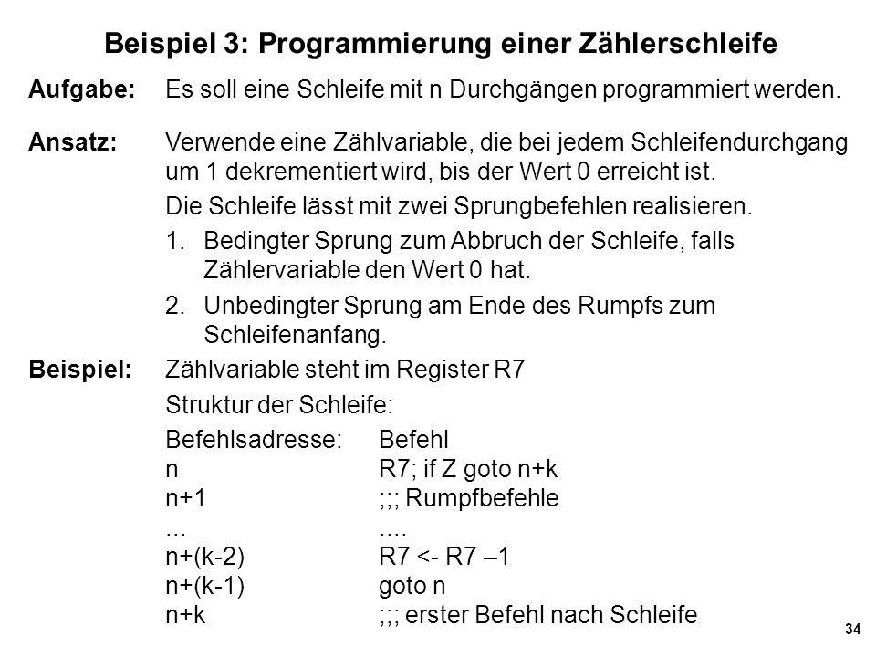 34 Beispiel 3: Programmierung einer Zählerschleife Aufgabe: Es soll eine Schleife mit n Durchgängen programmiert werden. Ansatz:Verwende eine Zählvari