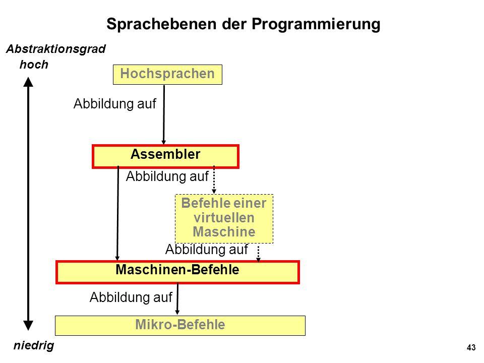 43 Sprachebenen der Programmierung Hochsprachen Mikro-Befehle Abbildung auf Maschinen-Befehle Assembler Befehle einer virtuellen Maschine Abbildung au