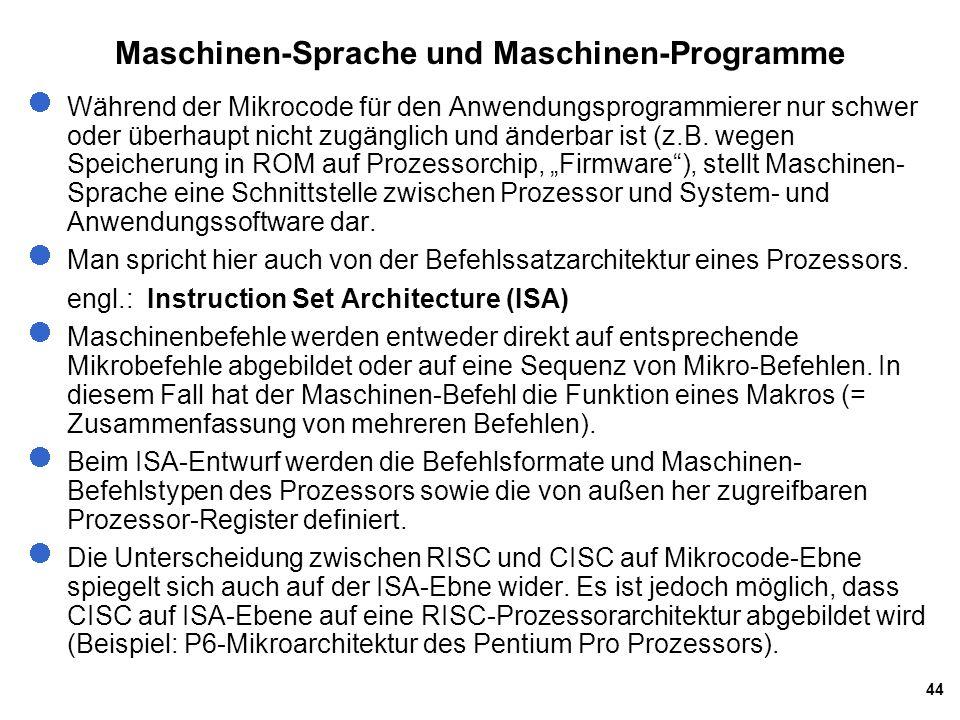44 Während der Mikrocode für den Anwendungsprogrammierer nur schwer oder überhaupt nicht zugänglich und änderbar ist (z.B. wegen Speicherung in ROM au