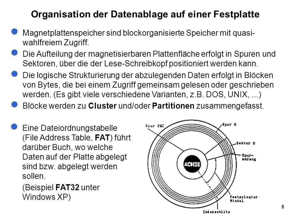 5 Organisation der Datenablage auf einer Festplatte Magnetplattenspeicher sind blockorganisierte Speicher mit quasi- wahlfreiem Zugriff. Die Aufteilun