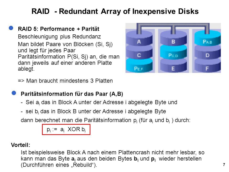 7 RAID - Redundant Array of Inexpensive Disks RAID 5: Performance + Parität Beschleunigung plus Redundanz Man bildet Paare von Blöcken (Si, Sj) und le
