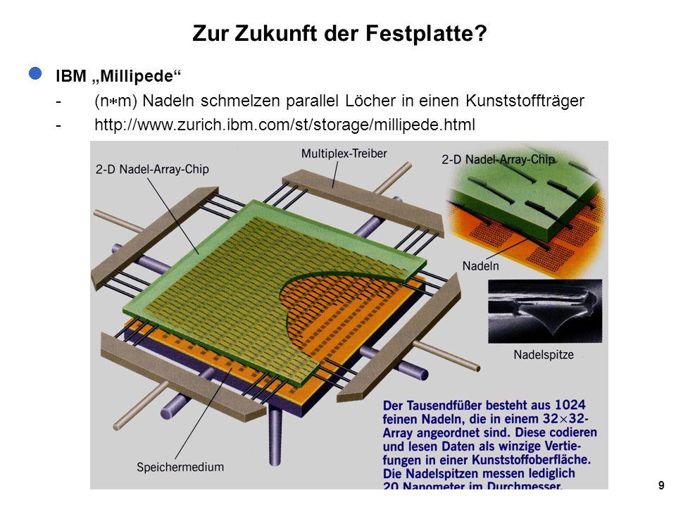 """9 Zur Zukunft der Festplatte? IBM """"Millipede"""" -(n  m) Nadeln schmelzen parallel Löcher in einen Kunststoffträger -http://www.zurich.ibm.com/st/storag"""