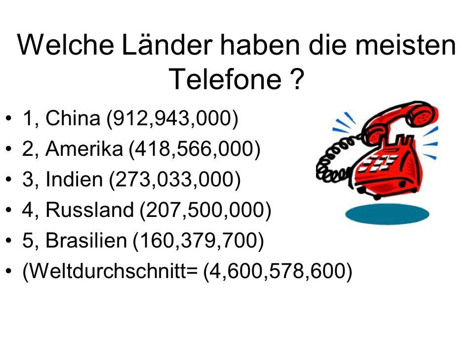 Welche Länder haben die meisten Telefone ? 1, China (912,943,000) 2, Amerika (418,566,000) 3, Indien (273,033,000) 4, Russland (207,500,000) 5, Brasil