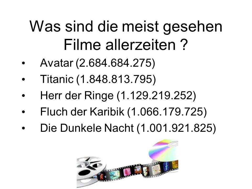 Avatar (2.684.684.275) Titanic (1.848.813.795) Herr der Ringe (1.129.219.252) Fluch der Karibik (1.066.179.725) Die Dunkele Nacht (1.001.921.825)