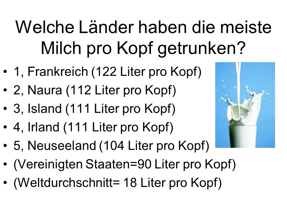 Welche Länder haben die meiste Milch pro Kopf getrunken? 1, Frankreich (122 Liter pro Kopf) 2, Naura (112 Liter pro Kopf) 3, Island (111 Liter pro Kop