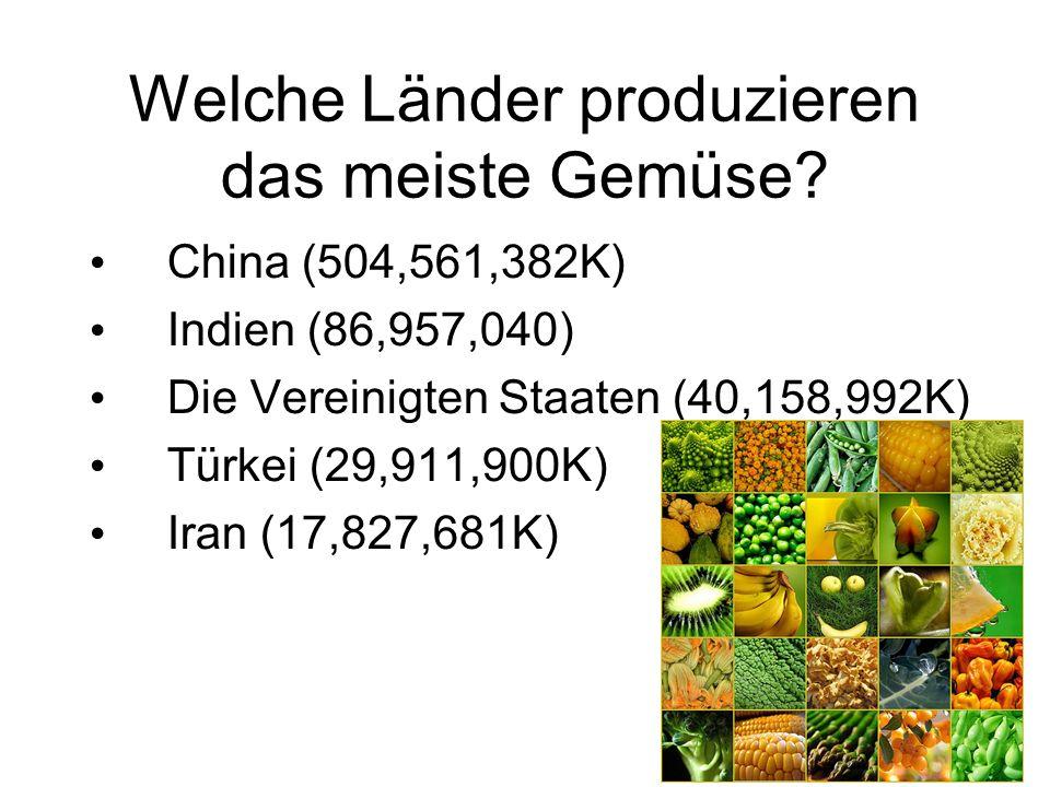 Welche Länder produzieren das meiste Gemüse? China (504,561,382K) Indien (86,957,040) Die Vereinigten Staaten (40,158,992K) Türkei (29,911,900K) Iran