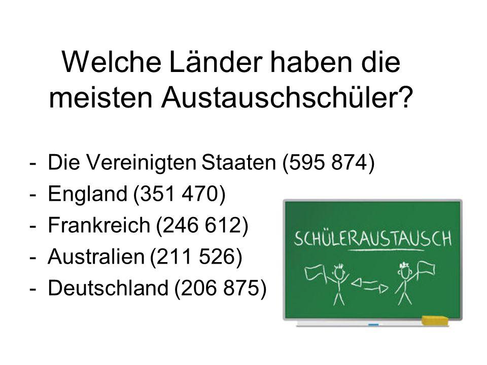 Welche Länder haben die meisten Austauschschüler? -Die Vereinigten Staaten (595 874) -England (351 470) -Frankreich (246 612) -Australien (211 526) -D