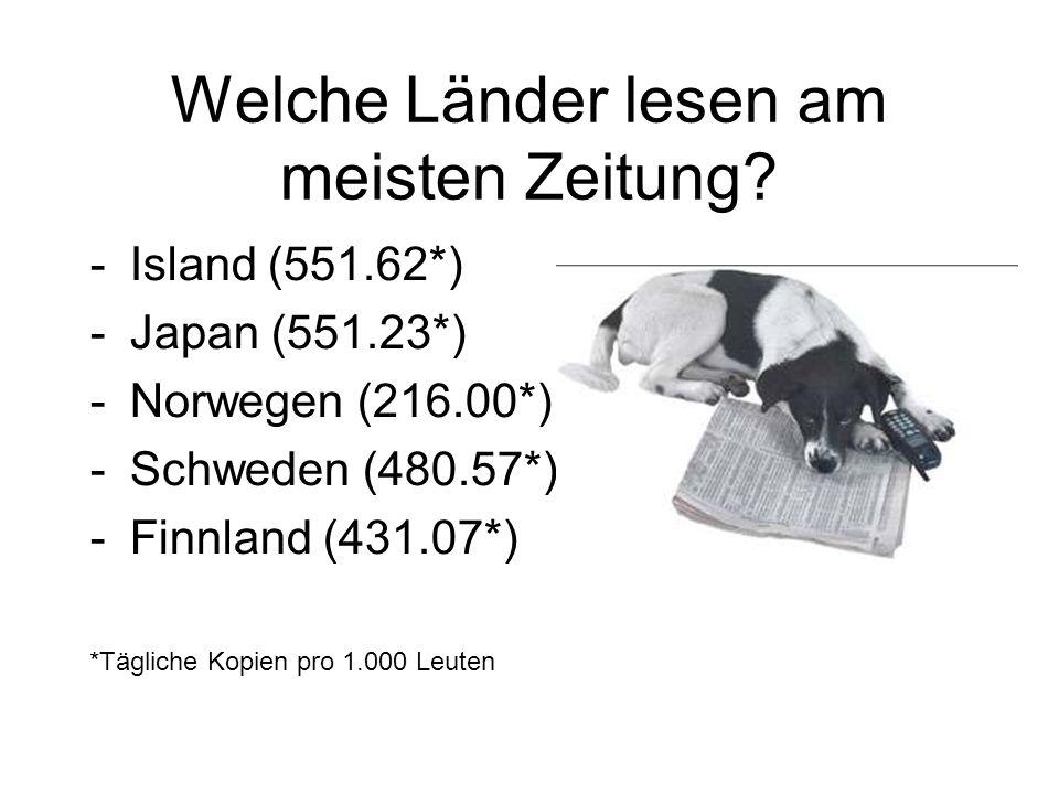 Welche Länder lesen am meisten Zeitung? -Island (551.62*) -Japan (551.23*) -Norwegen (216.00*) -Schweden (480.57*) -Finnland (431.07*) *Tägliche Kopie