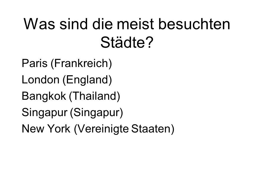 Was sind die meist besuchten Städte? Paris (Frankreich) London (England) Bangkok (Thailand) Singapur (Singapur) New York (Vereinigte Staaten)