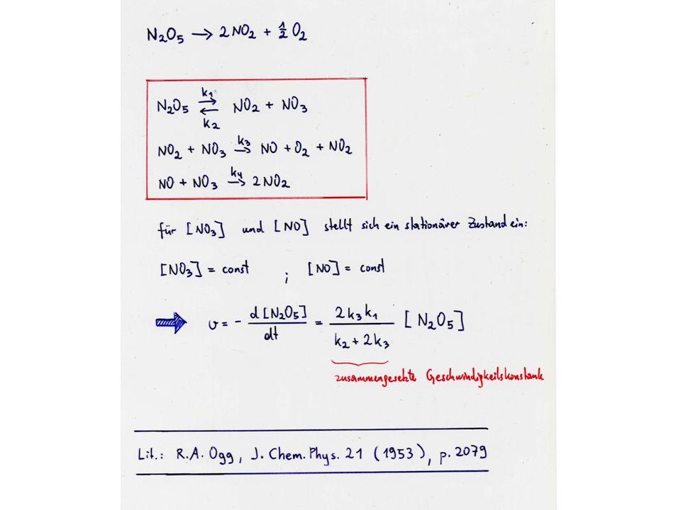 Smoluchowski-Theorie, von Peter Debye auf Reaktionen in Lösung angewendet: Stoßdurchmesser d 12 =r A +r B A und B nähern sich einander aus dem Unendlichen: Die Reaktion erfolgt sofort, wenn der Abstand d 12 erreicht ist.