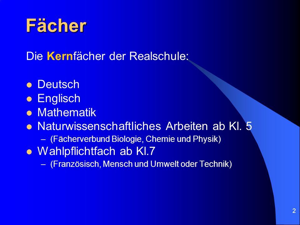 2 Fächer Die Kernfächer der Realschule: Deutsch Englisch Mathematik Naturwissenschaftliches Arbeiten ab Kl. 5 –(Fächerverbund Biologie, Chemie und Phy