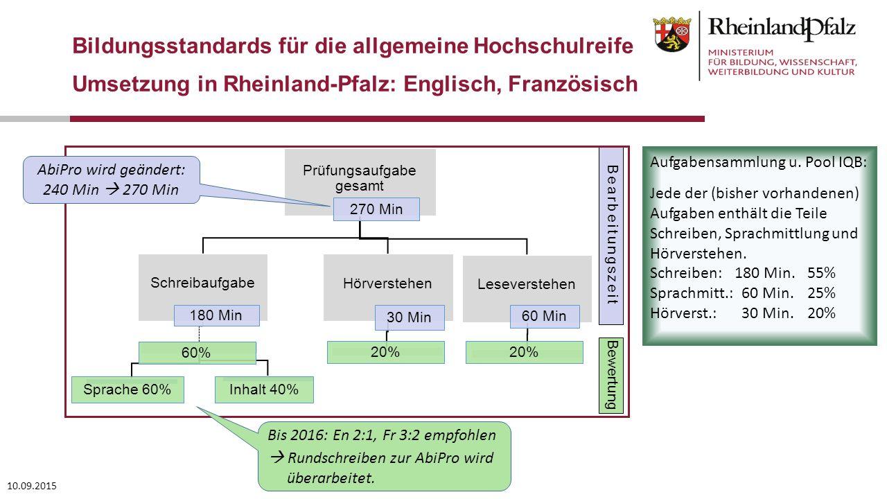 Bearbeitungszeit Bewertung 10.09.2015 Bildungsstandards für die allgemeine Hochschulreife Umsetzung in Rheinland-Pfalz: Englisch, Französisch AbiPro w