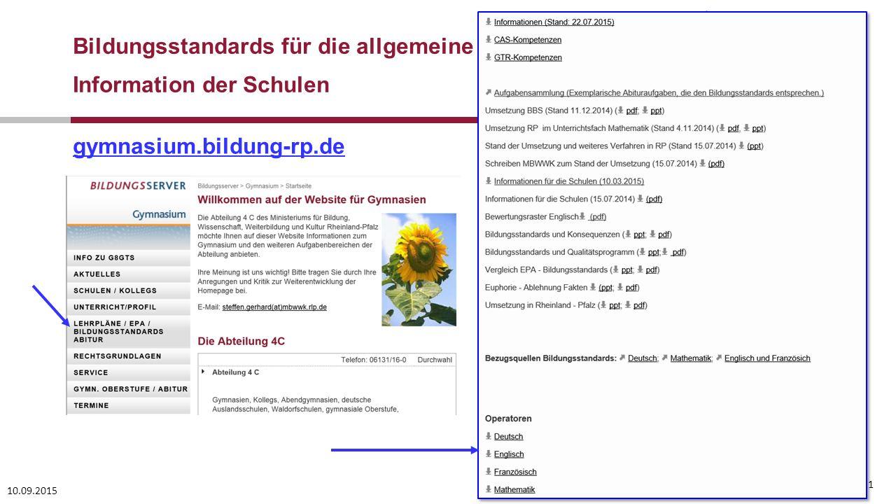 10.09.2015 21 gymnasium.bildung-rp.de Bildungsstandards für die allgemeine Hochschulreife Information der Schulen