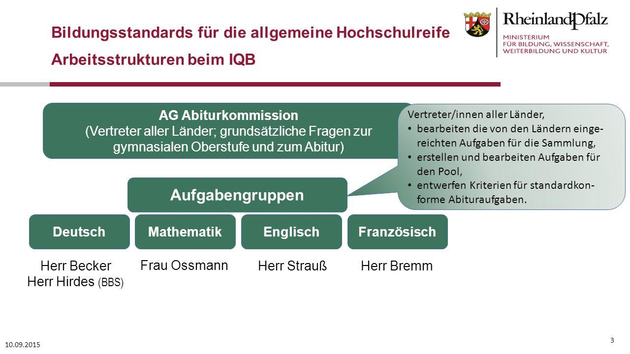 3 10.09.2015 Bildungsstandards für die allgemeine Hochschulreife Arbeitsstrukturen beim IQB Aufgabengruppen Deutsch Herr Becker Herr Hirdes (BBS) Engl