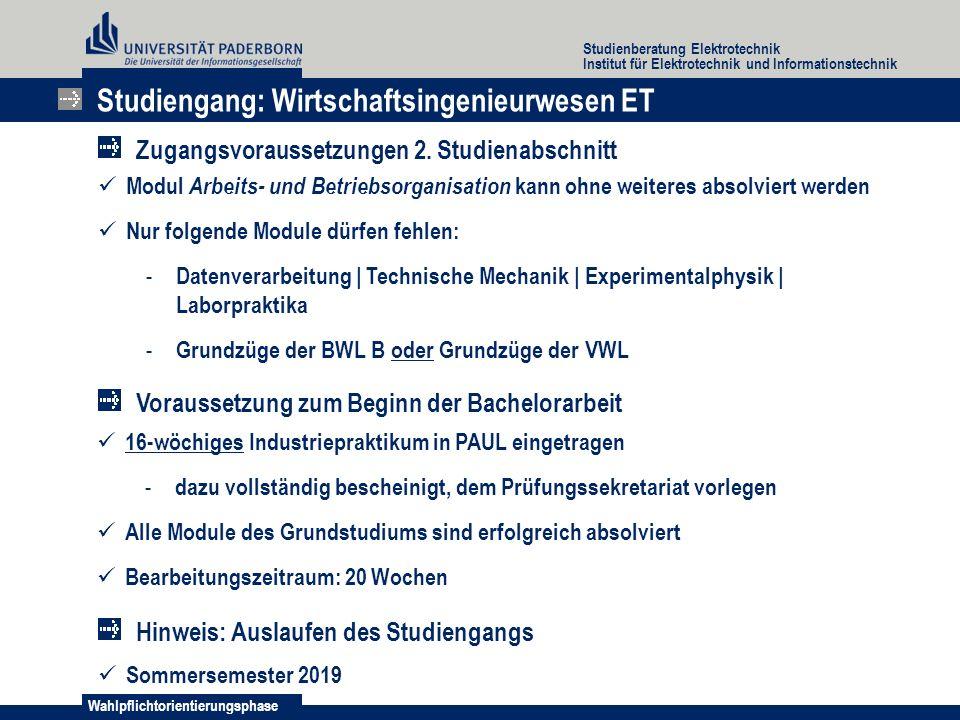Wahlpflichtorientierungsphase Studienberatung Elektrotechnik Institut für Elektrotechnik und Informationstechnik Modul Arbeits- und Betriebsorganisati