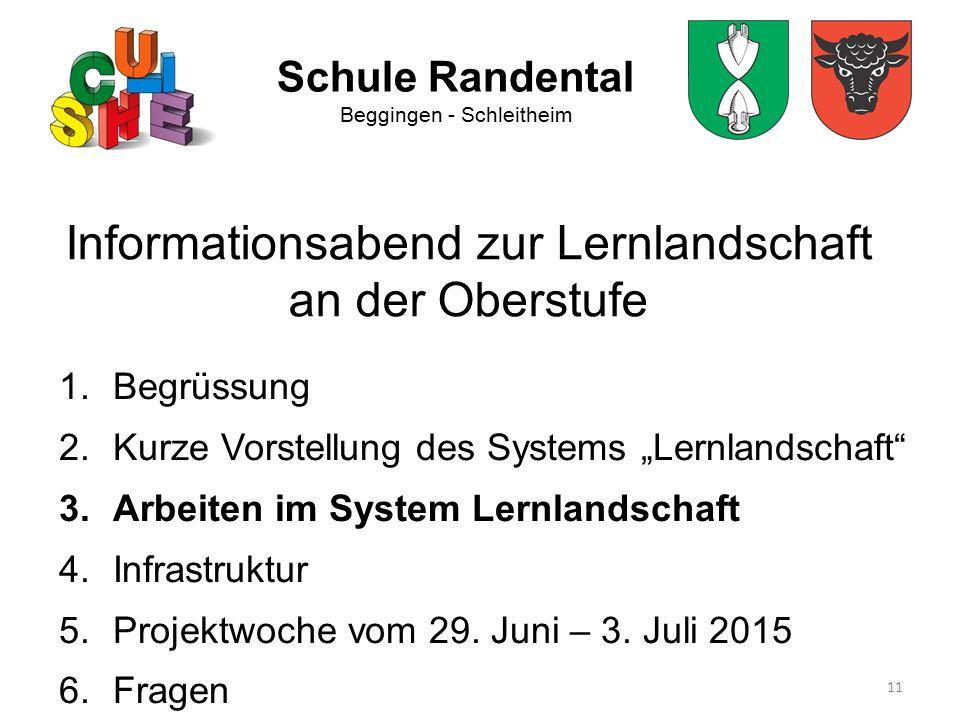 """11 Schule Randental Beggingen - Schleitheim Informationsabend zur Lernlandschaft an der Oberstufe 1.Begrüssung 2.Kurze Vorstellung des Systems """"Lernla"""