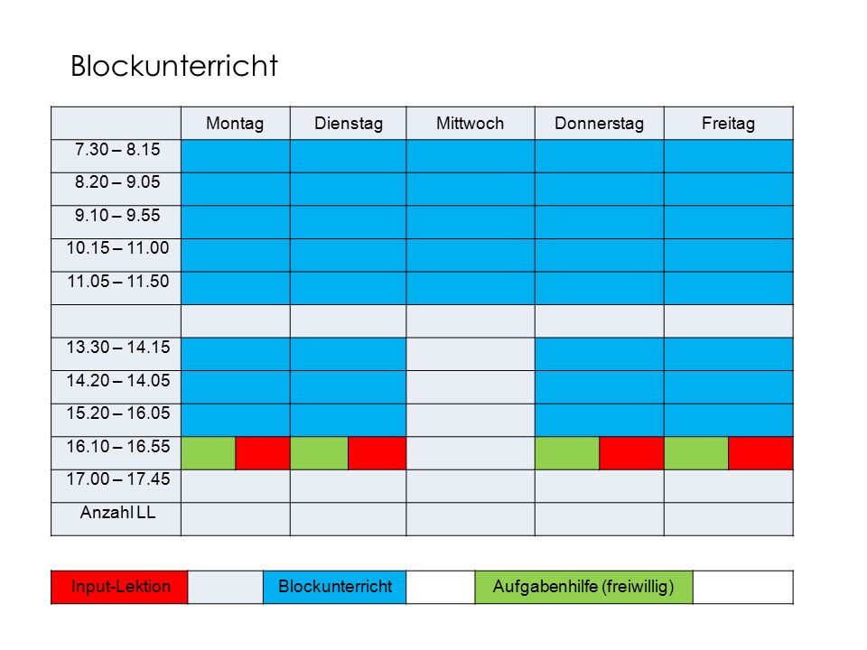 MontagDienstagMittwochDonnerstagFreitag 7.30 – 8.15 8.20 – 9.05 9.10 – 9.55 10.15 – 11.00 11.05 – 11.50 13.30 – 14.15 14.20 – 14.05 15.20 – 16.05 16.1