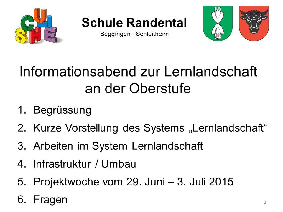 """2 Schule Randental Beggingen - Schleitheim Informationsabend zur Lernlandschaft an der Oberstufe 1.Begrüssung 2.Kurze Vorstellung des Systems """"Lernlan"""
